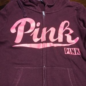 PINK sweat shirt and sweat pants outfit.